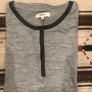 Madewell Tee with leather trim